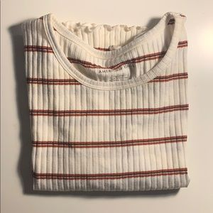 American Eagle Striped Ribbed Top (White)